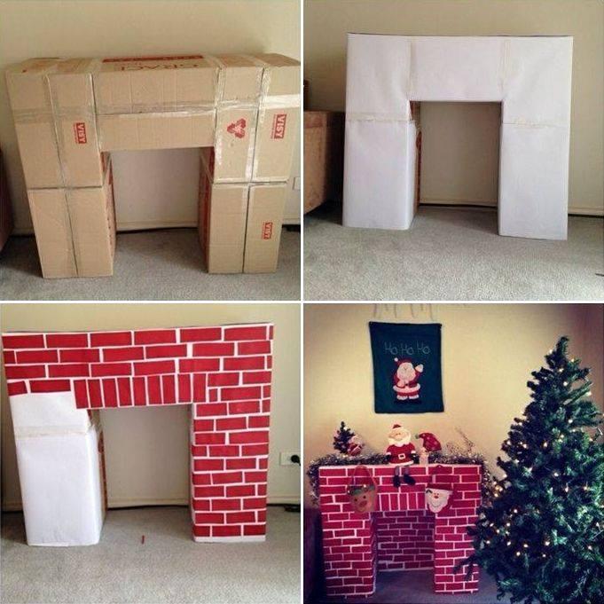 como hacer una chimenea de carton navidad